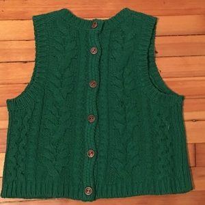 Anthropologie green crop sweater vest S